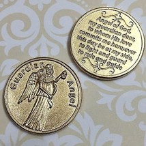 Guardian Angel Catholic Token Protect Devotion Prayer Coin Medal Gold Tone Italy - $10.99