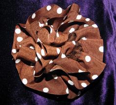 Hand crochet  Brown and White Dot Yorganza Yarn Statement Pin - $12.00