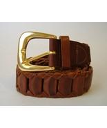 Capezio Brown Leather Belt Gold Metal Buckle Woven Vintage Size M/L - $20.00