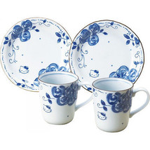 Gift! Hello Kitty Porcelain Blue Rose Pair Mug & cake dish set NEW Japan F/S - $66.33