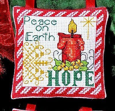 Hope Love Ornaments christmas holiday cross stitch chart Bobbie G Designs