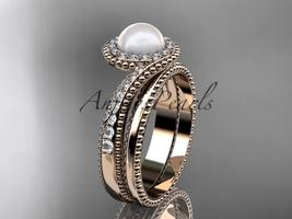 14kt rose gold diamond wedding ring, engagement set AP379S - $2,135.00