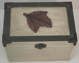 Small Decorative Wooden Trunk Leaf Design Lid 6in x 4 1/2in x 4 1/2in - £6.76 GBP