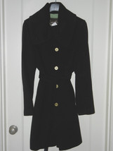 NWT Coach Mod Black Wool Signature Lined Belted Trench Day Coat 80940 $488 - $389.99
