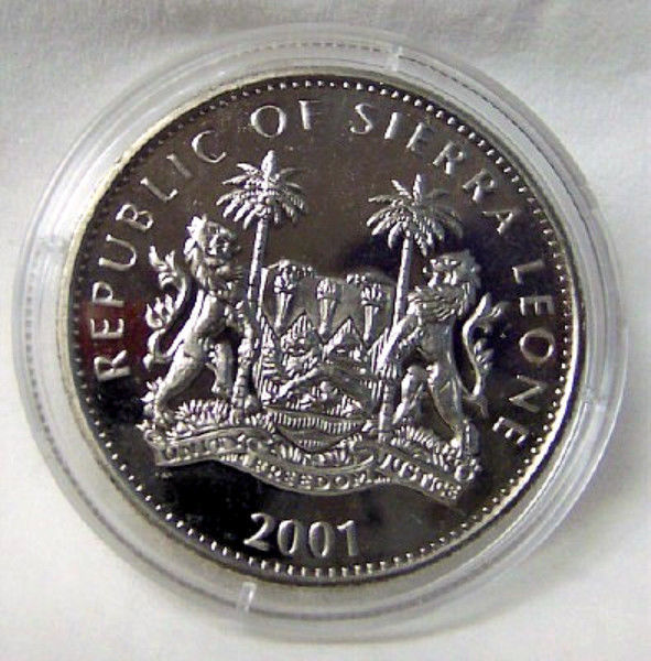SIERRA LEONE BIG CATS OF WORLD LION 2001 COLOR CUNI COIN Uncirculated