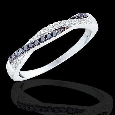 "Women's 1/4 CT B&W Diamond SOLID 10K White Gold Fashion Wedding Band Ring 5""-9"""