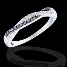 "Women's 1/4 CT B&W Diamond SOLID 10K White Gold Fashion Wedding Band Ring 5""-9"" - $272.14"