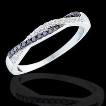 Women's 1/4 CT B&W Diamond SOLID 10K White Gold Fashion Wedding Band Rin... - $272.14