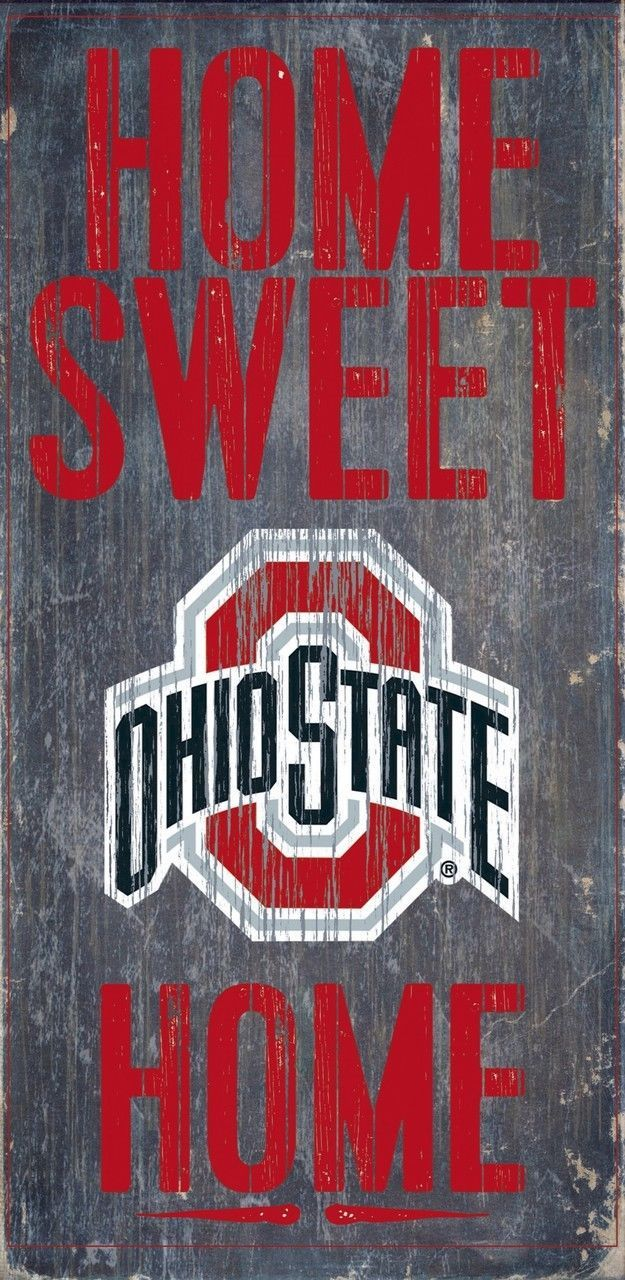 "OHIO STATE BUCKEYES HOME SWEET HOME WOOD SIGN with ROPE 12"" X 6""  NCAA MAN CAVE!"
