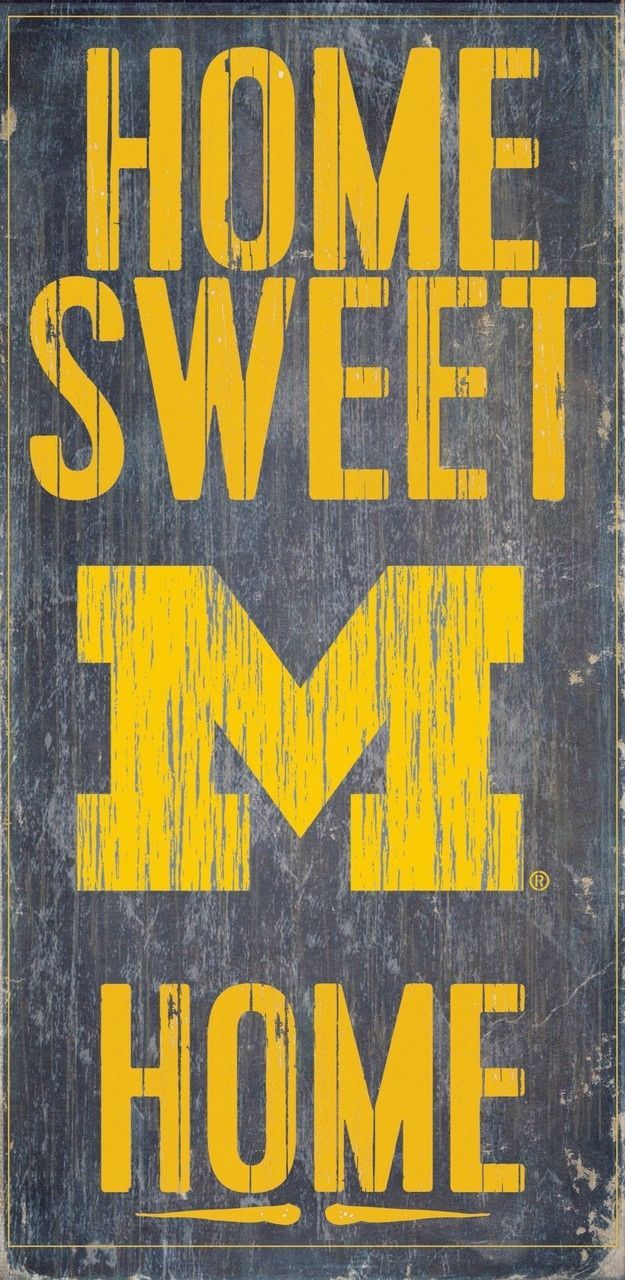 """MICHIGAN WOLVERINES HOME SWEET HOME WOOD SIGN with ROPE 12"""" X 6""""  NCAA MAN CAVE!"""