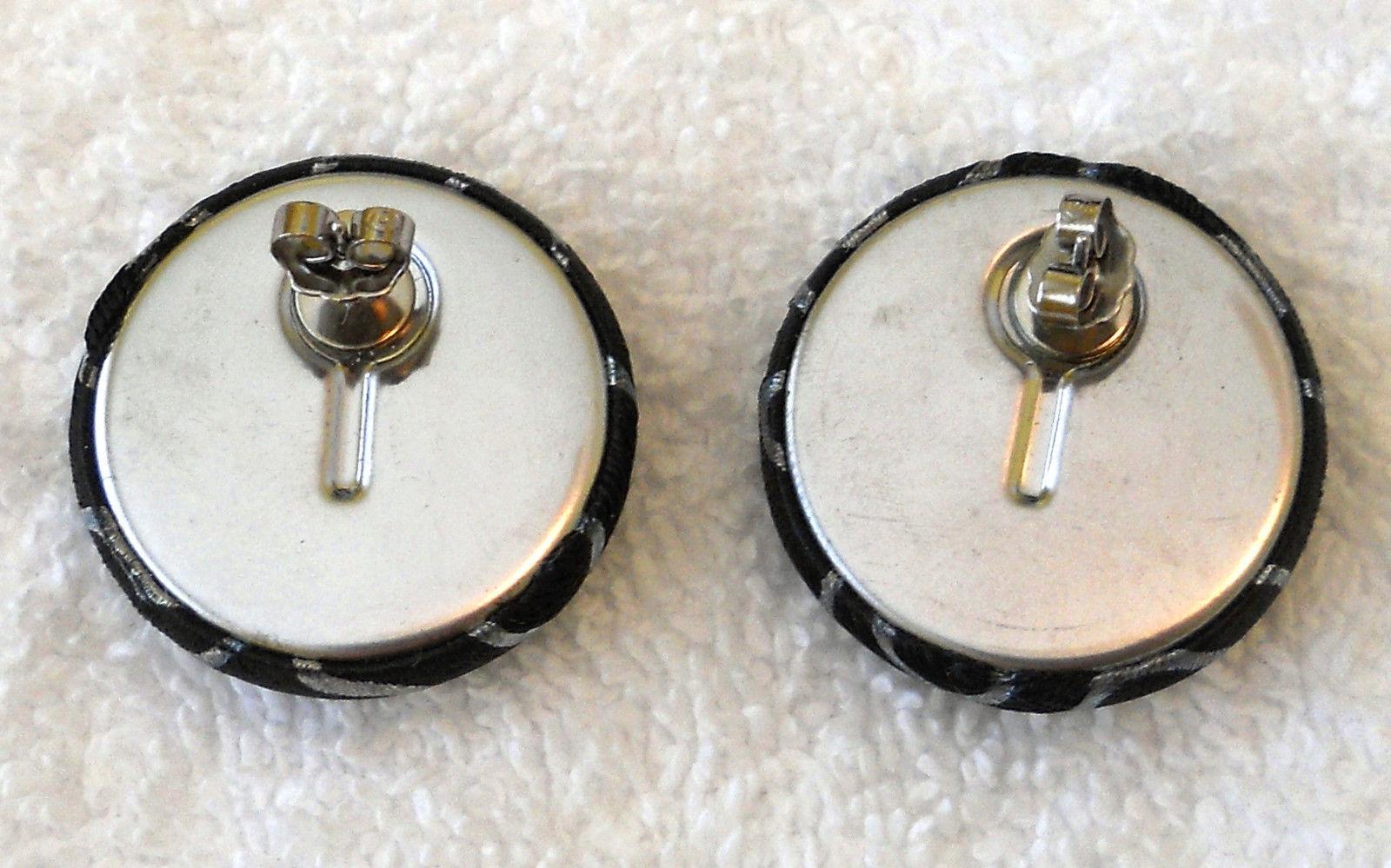 ✿ Vintage 80s Black Fabric Button Pierced Earrings Irridescent Swirl