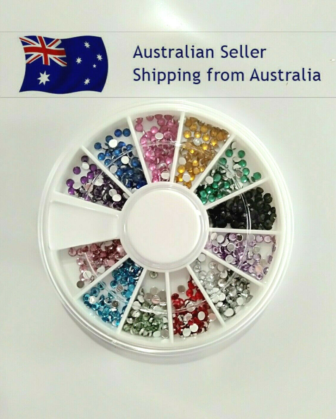 Nail Art Rhinestones Gems Diamond Decoration Wheel with FREE Nail Glue