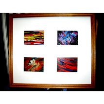 Four  Abstract  ACEOs In A Wood Frame - $250.00