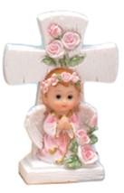 "2 girl angels under a cross 4.5"" tall christening communion decoration - $7.91"