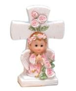 2 girl angels under a cross 4.5" tall christening communion decoration - $7.91