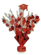 "2 pieces Red Graduation Centerpiece 14"" tall with foam graduation hat - $9.85"