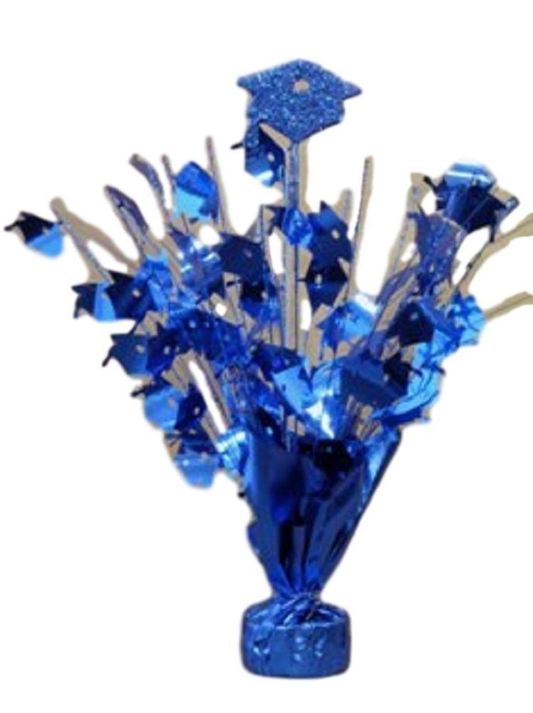 "2 pieces Royal blue Graduation Centerpiece 14"" tall with foam graduation hat"