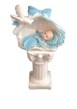 """2 pieces boy in a shell on a pedestal 5"""" tall christening baptism baby s... - $7.87"""