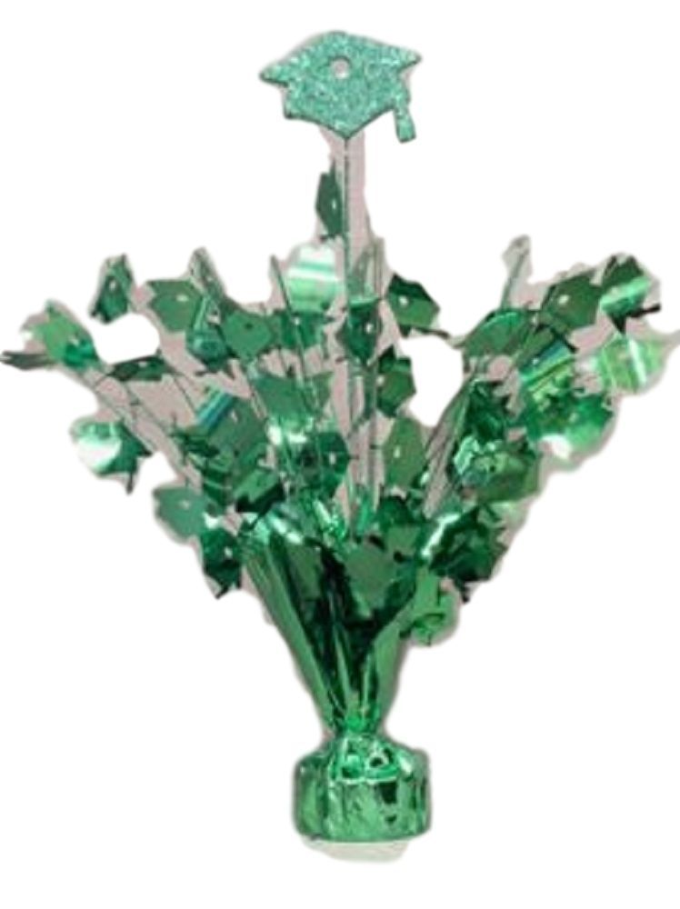 "2 pieces green Graduation Centerpiece 14"" tall with foam graduation hat"