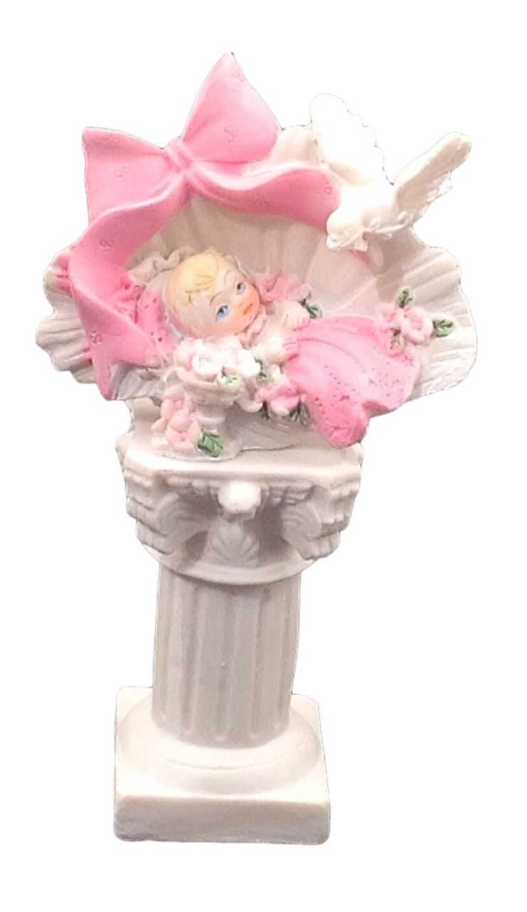 """2 pieces girl in a shell on a pedestal 5"""" tall christening baptism baby shower"""