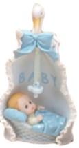 "2 pieces baby boy in swan blanket 6"" tall christening baptism shower dec... - $9.85"