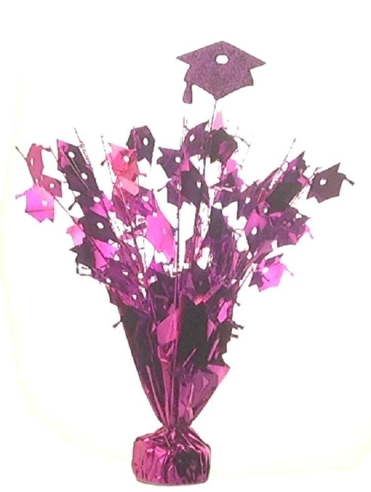 """2 pieces purple Graduation Centerpiece 14"""" tall with foam graduation hat"""