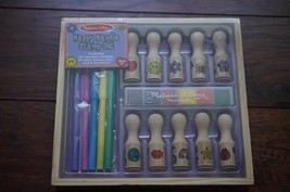 SEALED Melissa&Doug Deluxe Happy Handle Stamp Set With 10 Stamps inkpad markers - $14.99