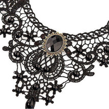 STEAKPUNK/GOTH/BURLESQUE Women's Black Lace Alloy Waterdrop Pendant Choker - $11.35