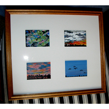 Four Horizontal Framed ACEOs Dealing With Nature - $250.00