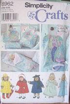 "Pattern 8962 18"" Doll Clothes PLUS Tote, Sleeping Bag & Pillow, Garment Bag  - $12.99"