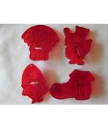 Vintage HRM Red Plastic Transparent Cookie Cutters - Nursery Rhymes, 195... - $12.00