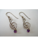 Clef Note Amethyst Earrings Sterling Silver Uni... - $79.00
