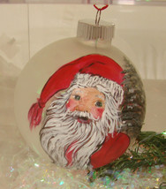 Hand painted Santa glass ornaments  - $30.00