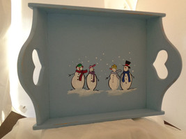 wood hand painted tray with placemats and napkins - $45.00