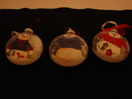 Hand painted snowman glass ornaments set of 3 - $28.00