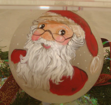 Santa ornaments custom hand painted glass - $20.00
