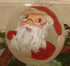 Santa ornaments custom hand painted glass - $20.00