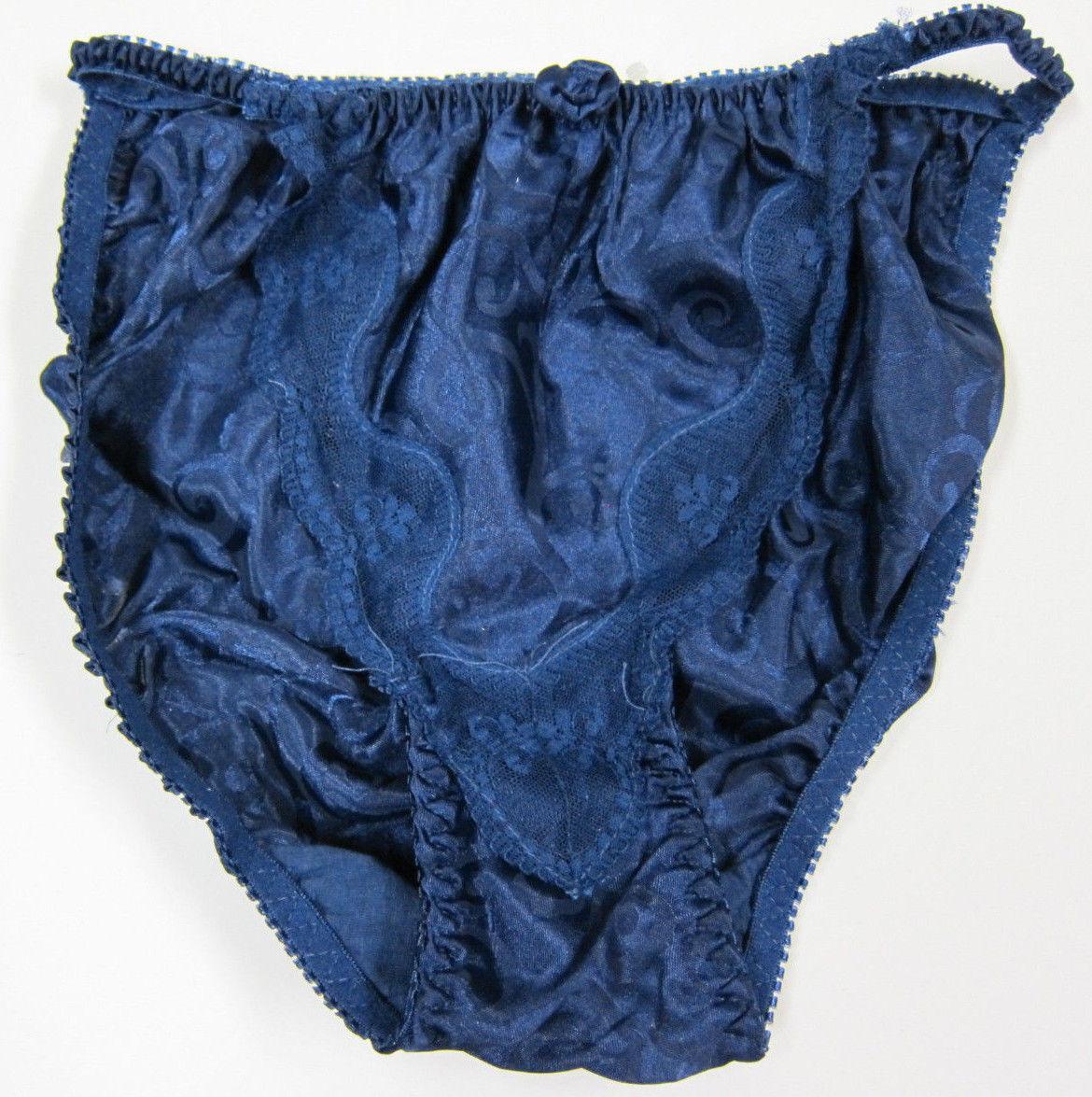 NEW VTG 100% Polyester Satin String Bikini Swirl Lace Panties SZ S 95b093096