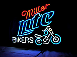 Bikers Miller Lite Neon Sign Handcrafted Real Glass Tubes Neon Light Sign - $124.95+