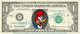 WOODY WOODPECKER on REAL Dollar Bill Cash Money Bank Note Currency Dinero  - $6.66