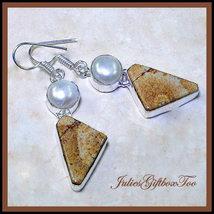 Brown & White Dendritic Opalite River Pearl Silver Overlay Dangle Earrings - $21.00