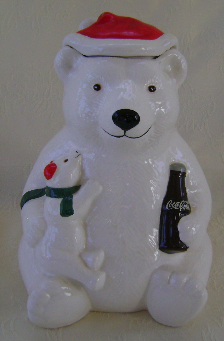 Cookie Jar, Coca Cola Bear 1998 Wearing Santa Hat and Holding Small Bear, Coke
