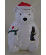 Cookie Jar, Coca Cola Bear 1998 Wearing Santa Hat and Holding Small Bear... - $40.00