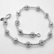 18K WHITE GOLD BRACELET FINELY WORKED 5 MM BALL SPHERE AND TUBE LINK 7.5 INCHES image 1