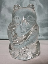 "Clear Glass Mama Bear Holding Baby Bear Cub Paperweight Figurine 3 1/2"" ... - $8.99"