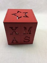 LED Tea Light Holder, Batteries Included Christmas Red Wood 3.5 x 3.5 in... - $8.99