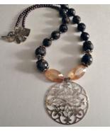 Handmade Necklace Navy Blue Jade & Gold Gemstone Beads with Metal Filigr... - $24.95
