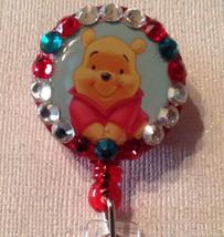 Winnie the Pooh Badge Reel Id Holder Swarovski red alligator clip handma... - $9.95