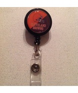 Nfl Cleveland Browns Badge Reel Id Holder black orange alligator clip ha... - $6.95