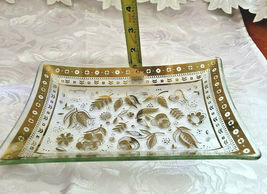 "Georges Briard Persian Garden Rectangular Glass Tray/Plate 6"" by 8"" Signed image 3"